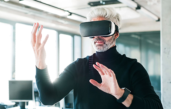 <p>VR is a tool that enables designers to create virtual systems that simulate real world and bring visually unrealistic experiences.</p>