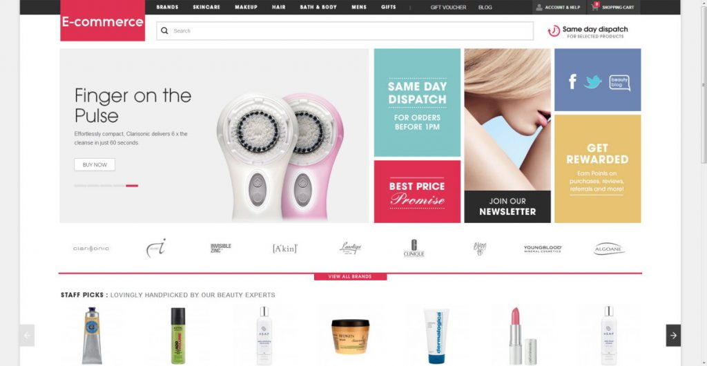a layout of ecommerce website