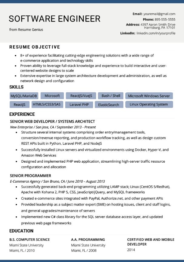 A sample of good software developer resume