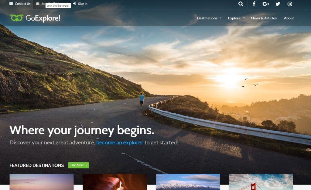 mẫu thiết kế website Go Explor