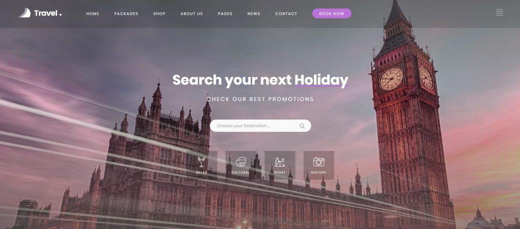 mẫu thiết kế website du lịch Love Travel