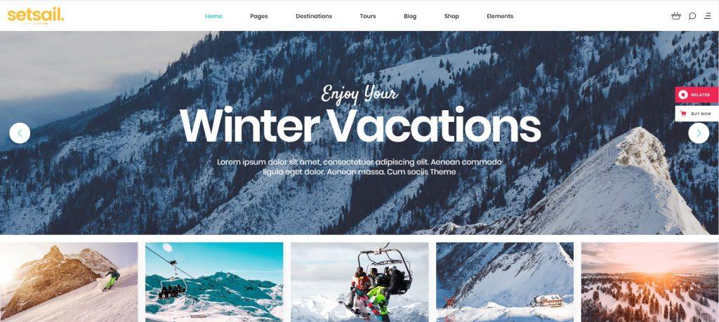 mẫu thiết kế website du lịch Set Sail