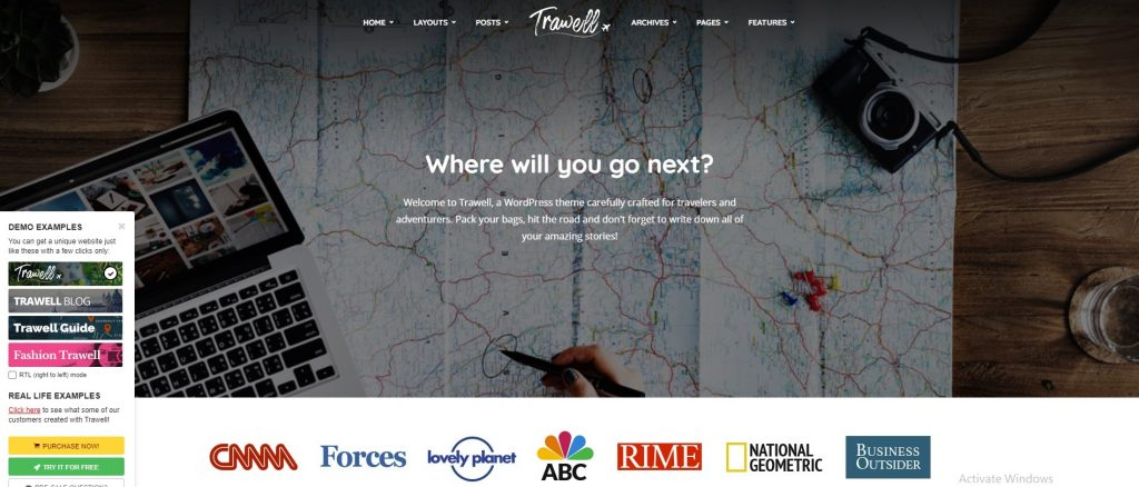 mẫu thiết kế website du lịch Trawell
