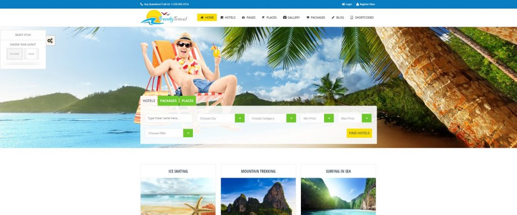 mẫu thiết kế website du lịch Trendy Travel