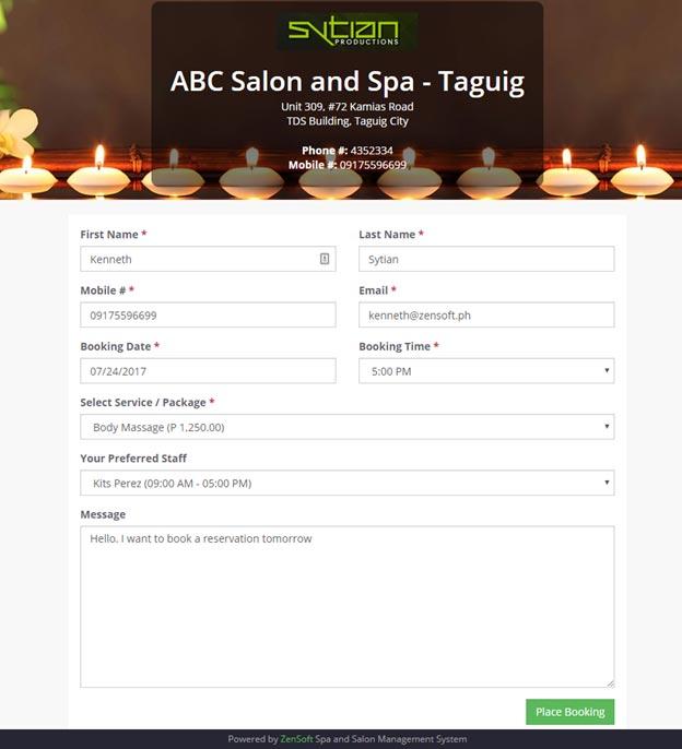trải nghiệm khách hàng ở website spa hệ thống booking