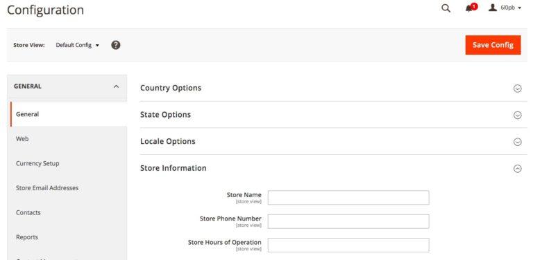 Cách định cấu hình cài đặt cửa hàng trong Magento.