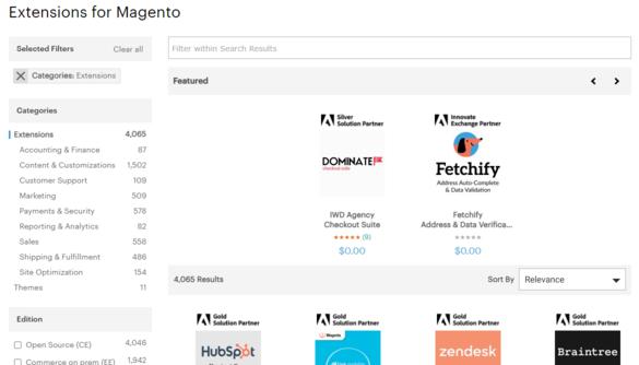 Tiện ích mở rộng cho website thương mại điện tử trên Magento Marketplace.