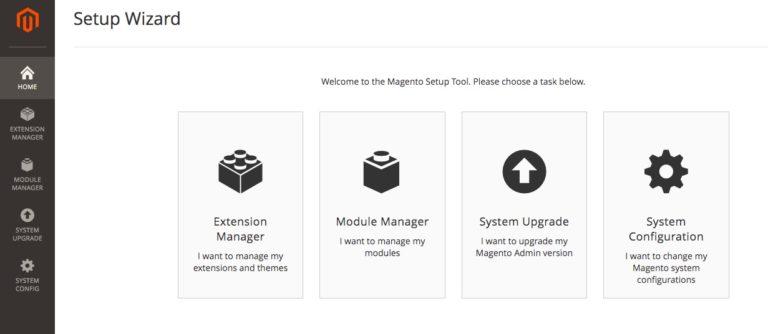Tùy chọn trình hướng dẫn thiết lập Magento (Setup Wizard).