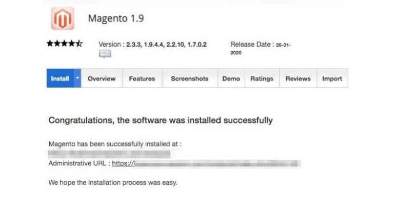 Thông báo cài đặt Magento thành công.